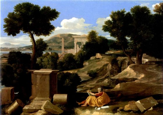 Poussin, Nicolas: Landscape with St James in Patmos. Fine Art Print/Poster. Sizes: A1/A2/A3/A4 (001664)